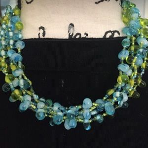 Vintage Blue And Green Multi Strand Necklace